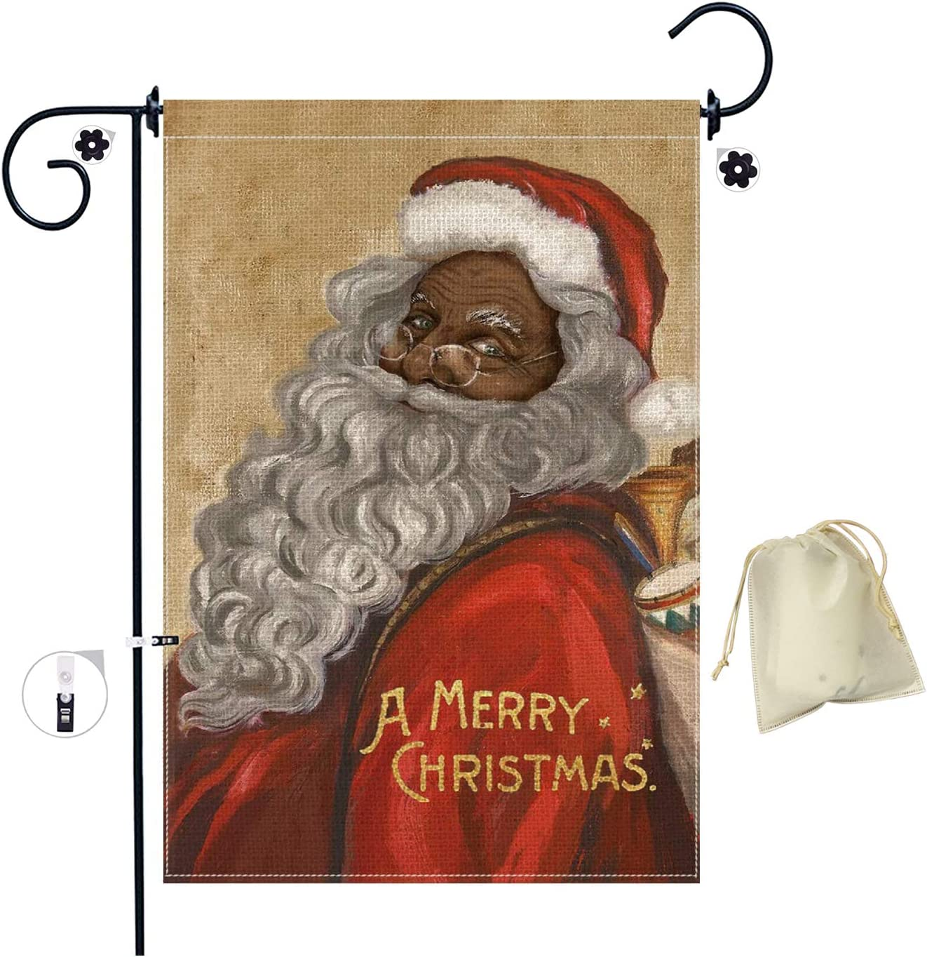 Christmas Garden Flags Double Sided, Black Santa Claus Christmas Garden Flags for Outside, Winter Holiday Christmas Yard Outdoor Decoration(18 x 12.5 inches)