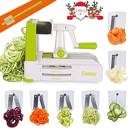 Comezy 7-Blade Spiralizer Vegetable Slicers, Caddy/Cleaning Brush