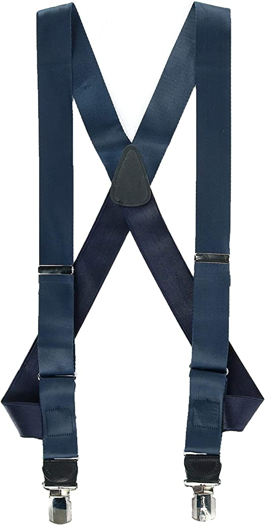 New CTM Men/'s Elastic Anti Slip Pin Clip Suspenders with Leather Drop Tabs