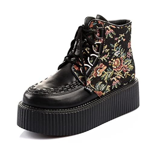 9ab03b3c482 RoseG Women s Handmade High Top Goth Punk Flats Platform Creeper Shoe Size3. 5