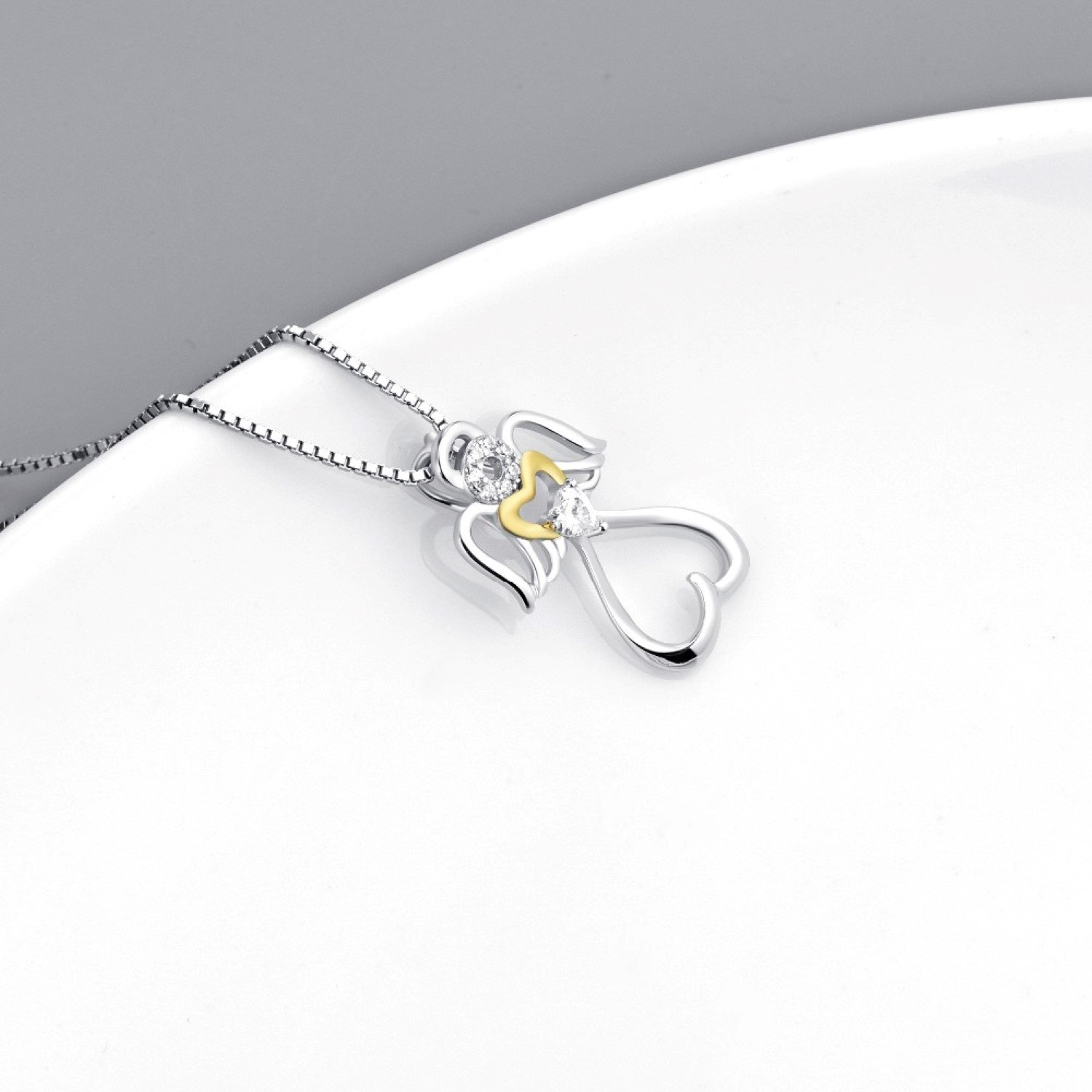 CS-DB Angel with Wings Love Heart Crystal CZ Top Stylish Silver Necklaces Pendants