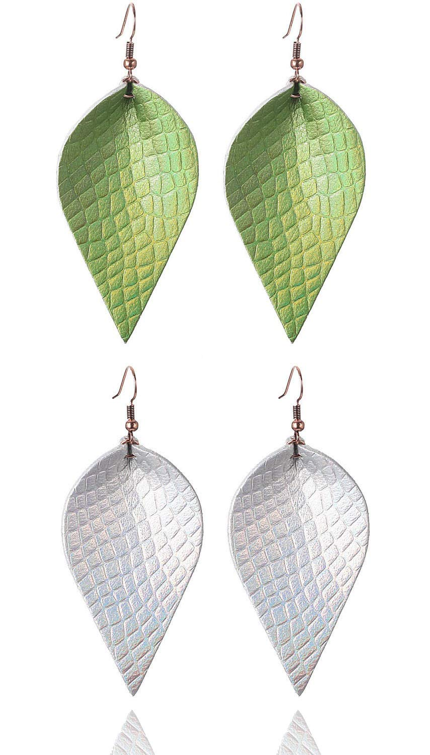 2 Pairs Joanna Style Light Cute Soft Leather Leaf Earrings Real Genuine Leather Earring Green Silver Color Inspired Joanna Style Large Not Faux Leather Feather Earing