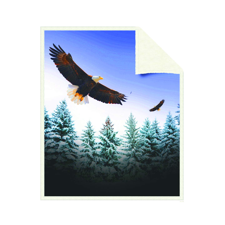 American Eagle Printed Sherpa Lined Hooded Blanket Adult