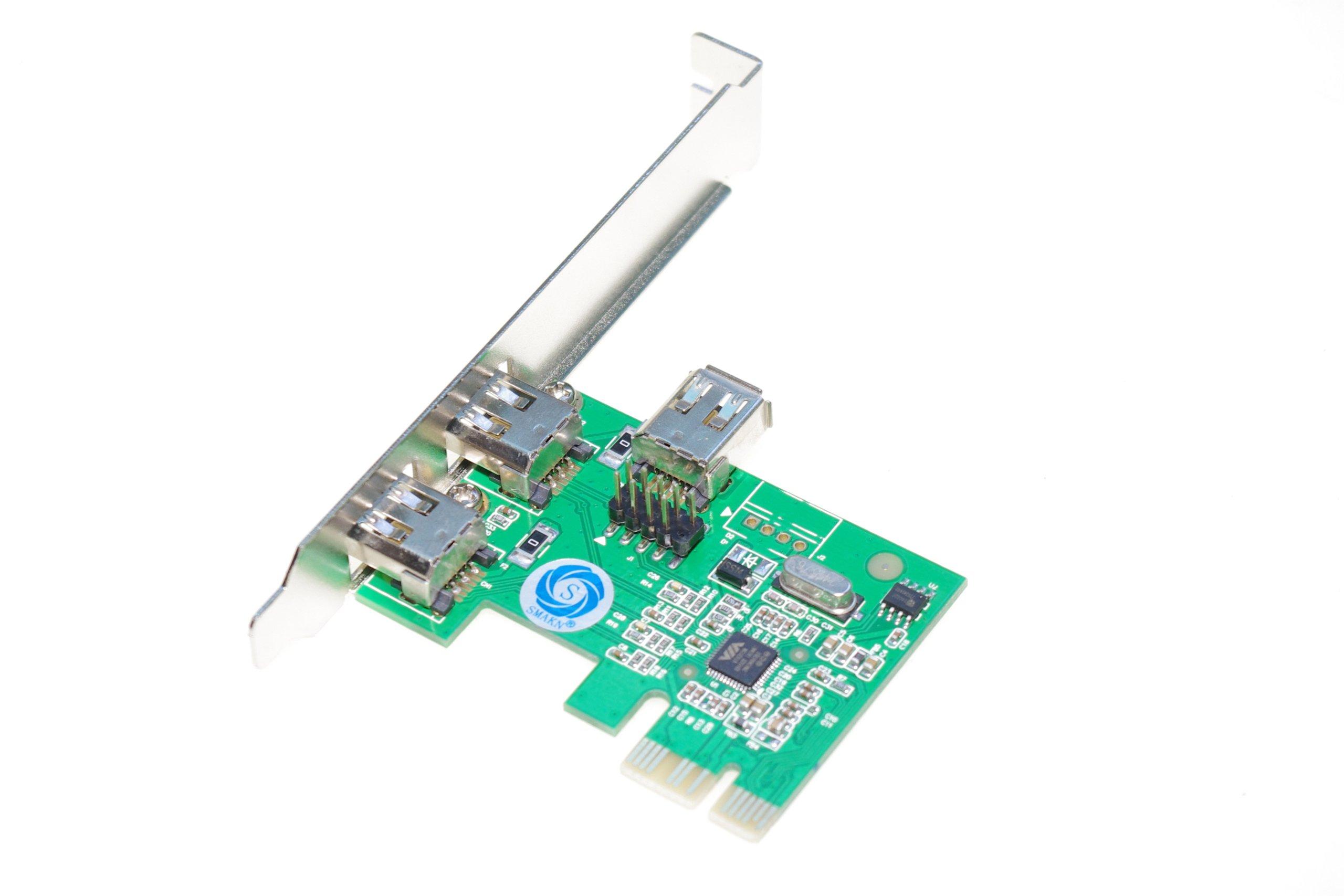 SMAKN PCI-Express IEEE 1394a Firewire controller card (2 external + 1 internal 1394a ports) IO-PCE6315-2E1I by SMAKN