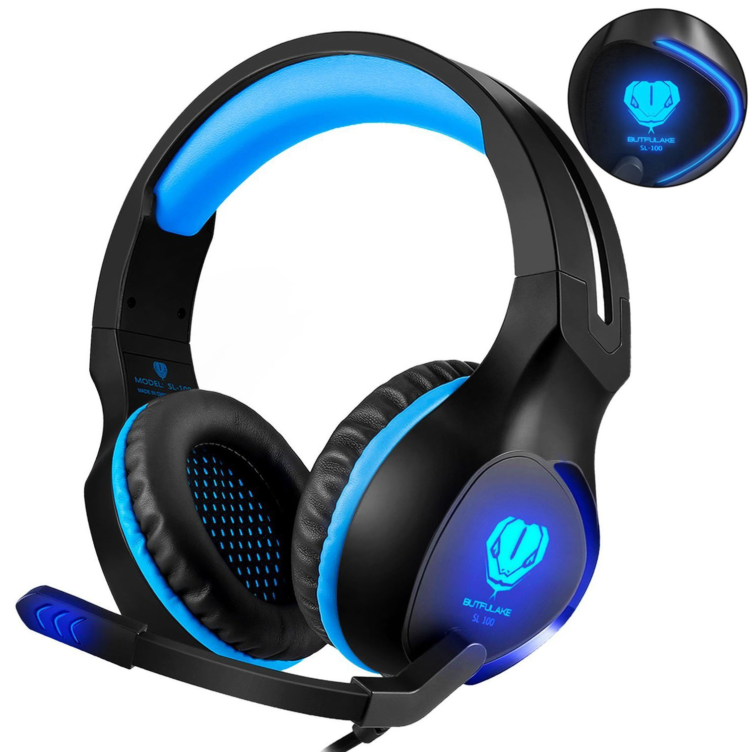 Fenvella Gaming Headset With Mic For PC/PS4/Xbox One Controller/Nintendo Switch 3.5mm Wired Stereo Noise Isolating Over Ear Headphones With LED Light Volume Control For Ipad/Laptop/Mobile Devices Blue