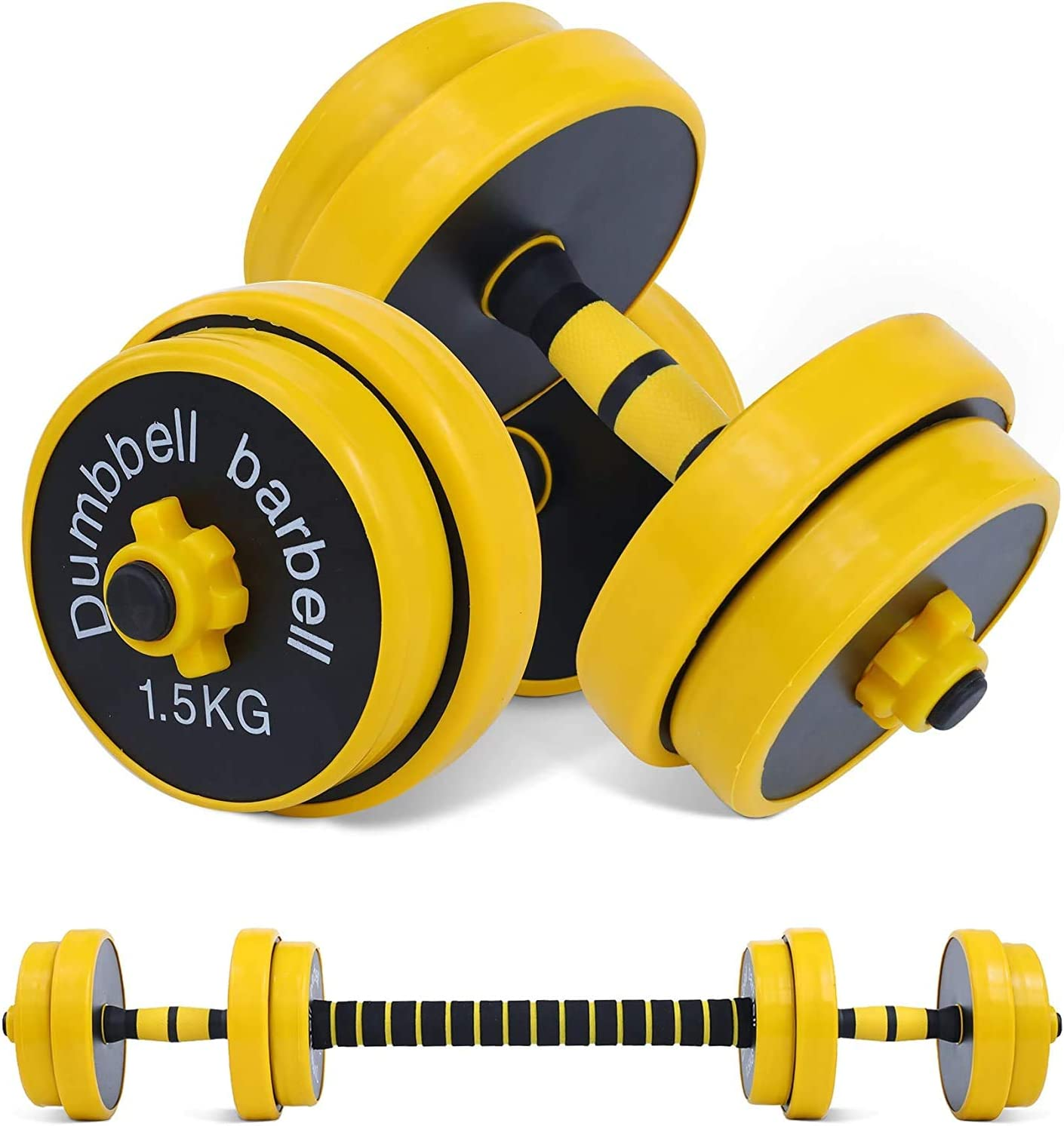Fuxion 22LB Adjustable Dumbbell Barbell Pair   Free 2-in-1 Set, Non-Slip Neoprene, Purpose, Home, Gym, Office     Hand Weights, 22 LB or 11 LB, 22 pounds Total / 11 Each