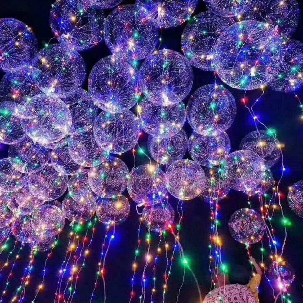ElementDigital LED Balloon Light Up Transparent Balloons LED Multi Light for Christmas Birthday Cub Wedding and Party Battery 10 PCS (24'')