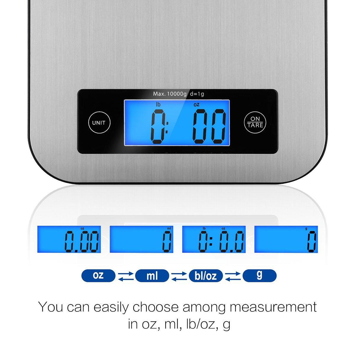/Écran LCD R/étro/éclair/é Acier Inoxydable Balance de Cuisine CUSIBOX 22Ib//10kg Balances de Cuisine Professionnelle Balance Alimentaire Smart Weigh Num/érique Balance de Cuisine Electronique Pr/écision