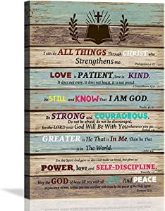 Motivational Office Wall Art Bible Christian Wall Decor Scripture Inspirational Wall Art for Living Room Bathroom Rustic Religious Gifts Teen Room Decor