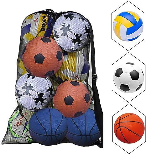 Extra Large Football Basketball Storage Bag Volleyball Outdoor Waterproof Duffel Bag Soccer Net Ball Shoulder Bag 15-20 Balls Carry Bag Sport Equipment Training Drawstring Bag with Adjustable Strap