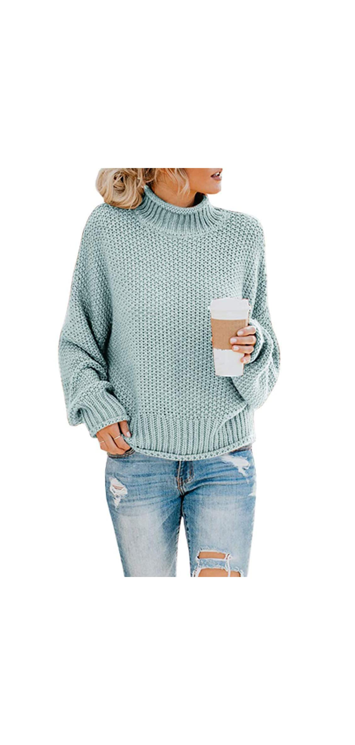 Womens Turtleneck Sweater Casual Cable Knitting Sweater
