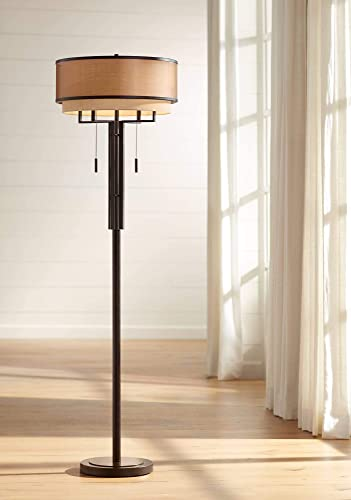 Alamo Modern Floor Lamp Industrial Bronze Sheer Brown Organza and Linen Double Drum Shade