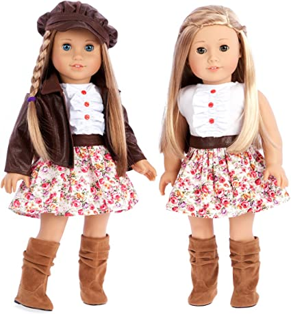 Doll Outfit Set Denim Jacket PU Leather Skirts for 18/'/' Ameircan Girl Doll
