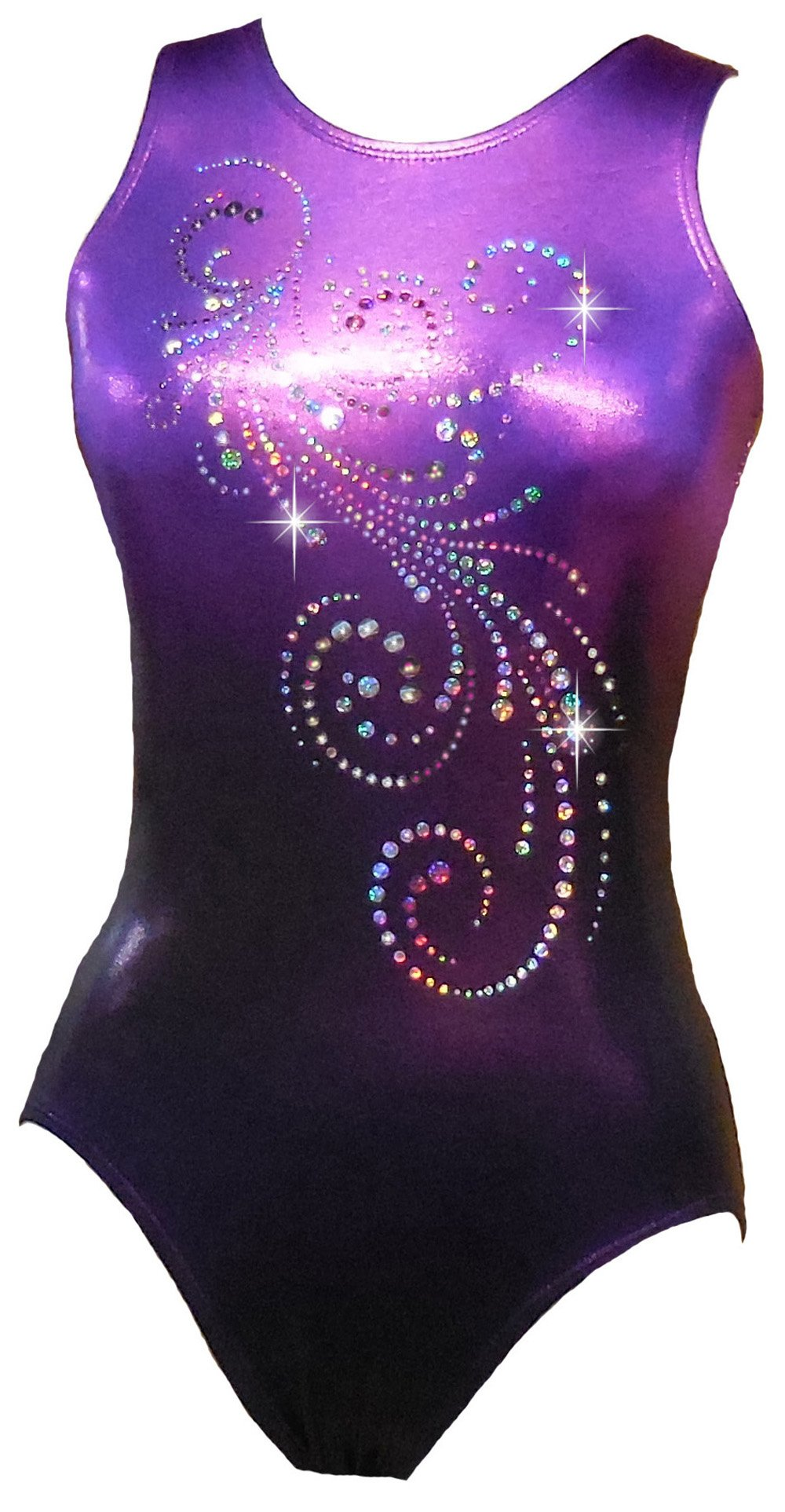 Look-It Activewear Deep Purple Ombre Sparkle Leotard for Gymnastics or Dance girls and women (Women's Medium (size 6-8)) by Look-It Activewear
