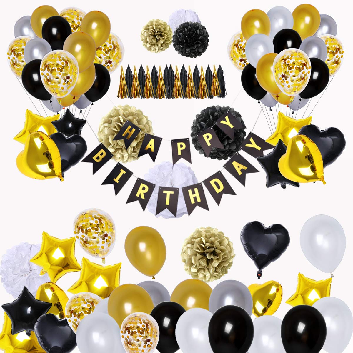 BRT Black and Gold Party Decorations(90Pcs) Happy Birthday Banner Star Heart Foil Balloons 18th 20th 30th 40th 50th 60th 70th Birthday Decorations Birthday Balloons