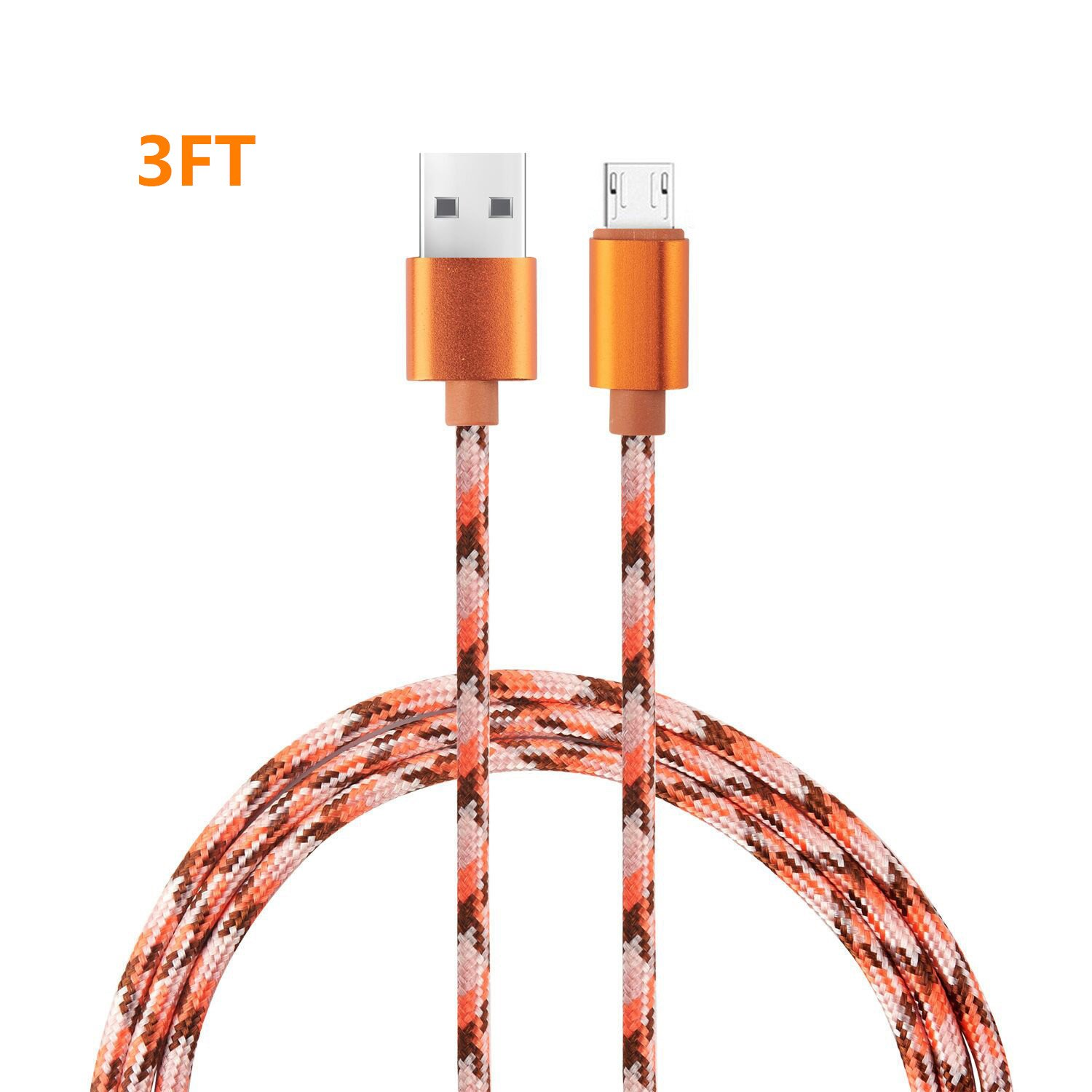 Micro USB Cable,Binguowang Nylon Braided Android Charger Cord fast charging Sync Cable for Samsung,Galaxy Tablet,HTC,LG,Nokia,Motorola, Android Smart phones and More. (Camo) (Gold 1Pack 3FT)