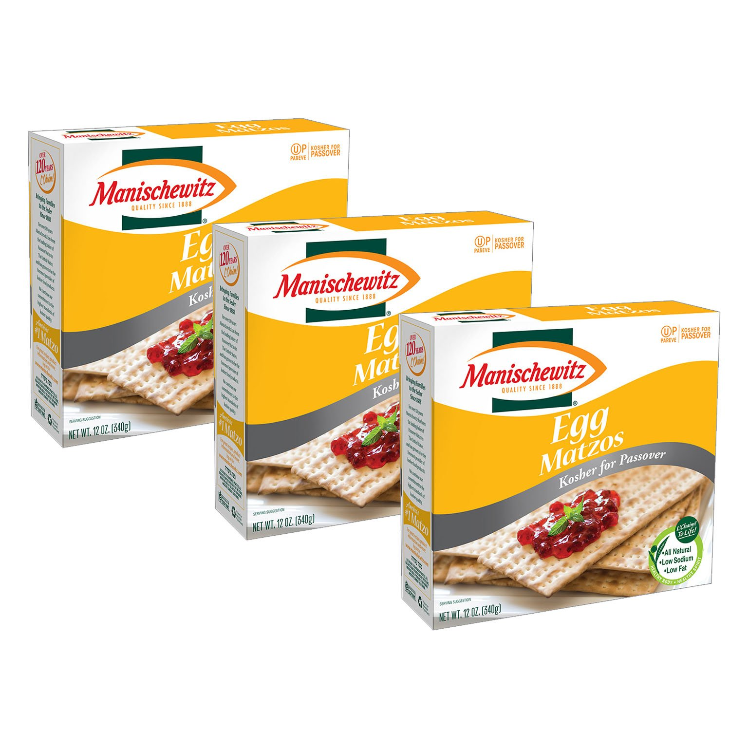 Manischewitz Egg Matzos Kosher for Passover All Natural Low Sodium Low Fat 12oz 3 pack