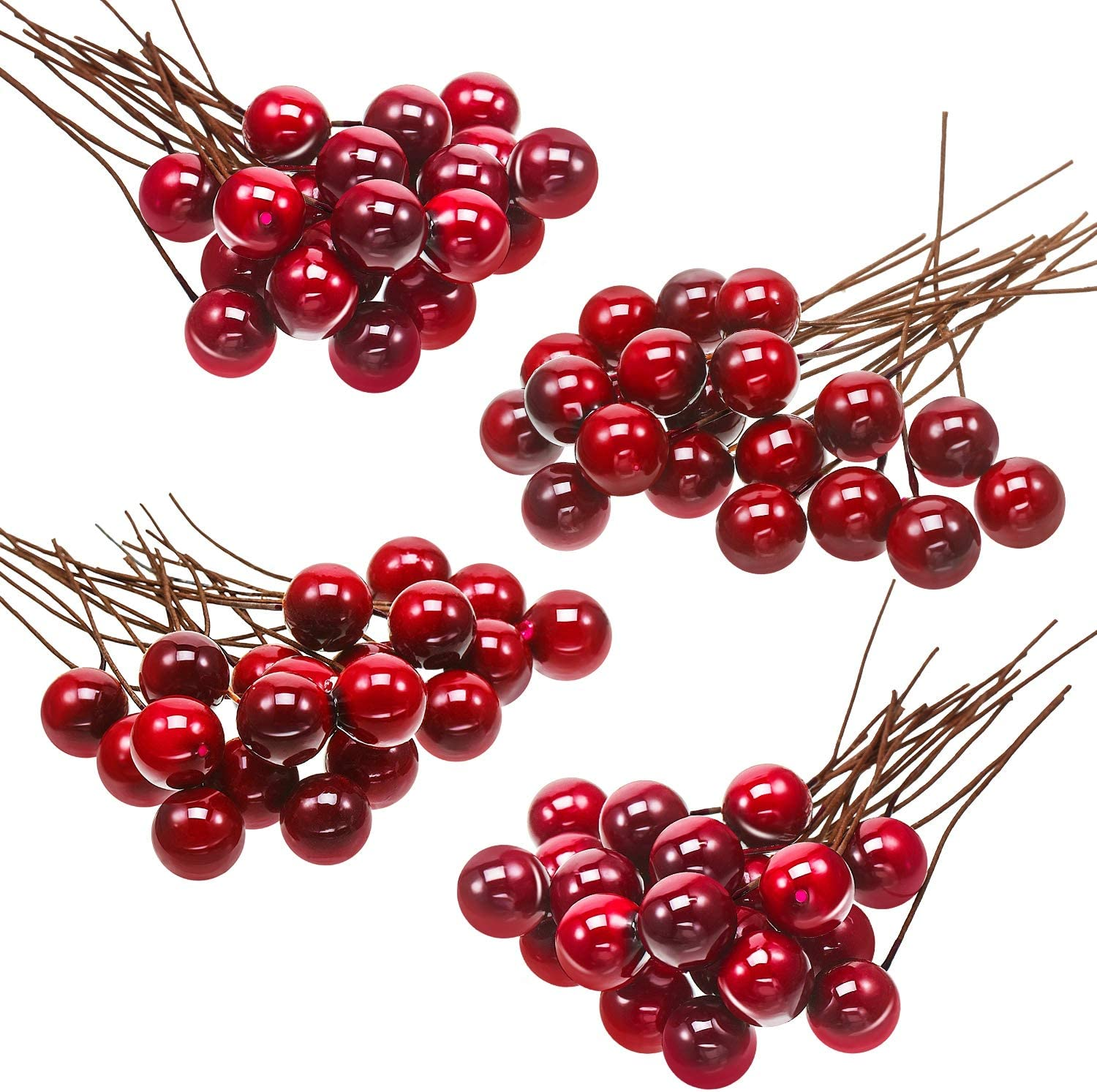 BBTO Artificial Holly Berries, 100 Pieces Mini 10 mm Fake Berries Decor on Wire for Christmas Tree Decorations Flower Wreath DIY Craft Use (Wine Red)