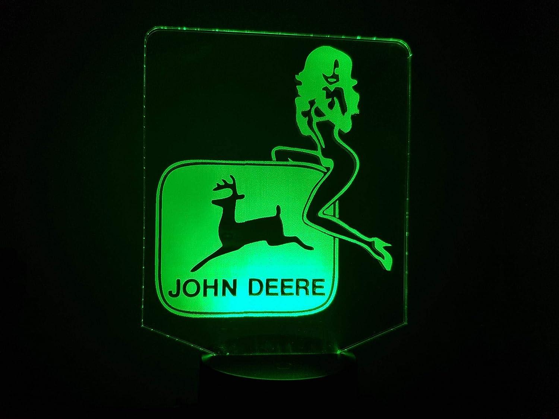 TRACTEUR JOHN DEERE + girl, lampe 3D à LED