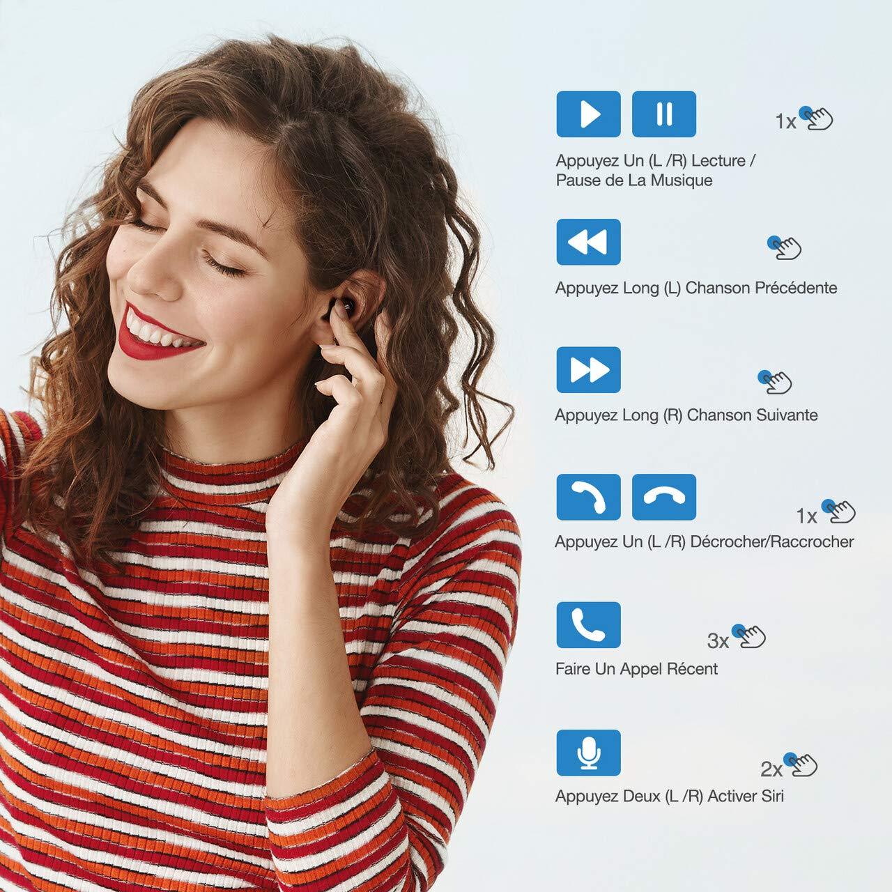 POWERADD Ecouteur Bluetooth v5.0 TWS - Son Stéréo 3D Etanche IPX5 avec Boîte de Charge et 3 Bouchons d\'oreilles Casque Rechargable sans Fil pour Sport