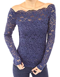 Minetom Mujer Camisa Blusa Manga Larga de Encaje Camiseta Moda Floral Crochet Elegante Tops Off Shoulder