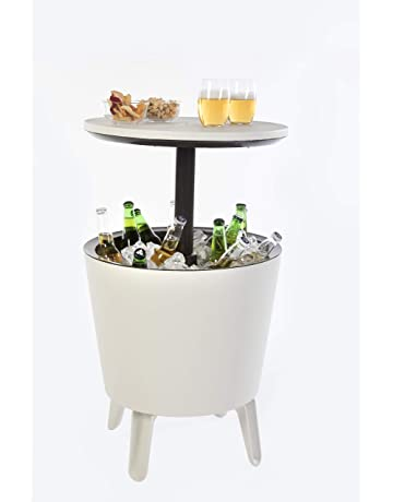 Keter Cool Bar Crema y Chocolate Mesa Nevera para Exterior, Blanco, 50x41x50 cm