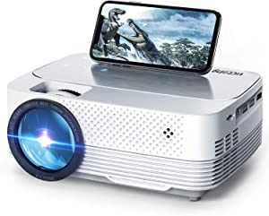VicTsing WiFi Projector, 5000LUX LED Wireless Mini Projector, Native 1280x720P Portable Home Theater Projectors, 1080P Supported, 50,000h Lamp Life, Compatible with Audio, AV, USB, HDMI, SD, PS4