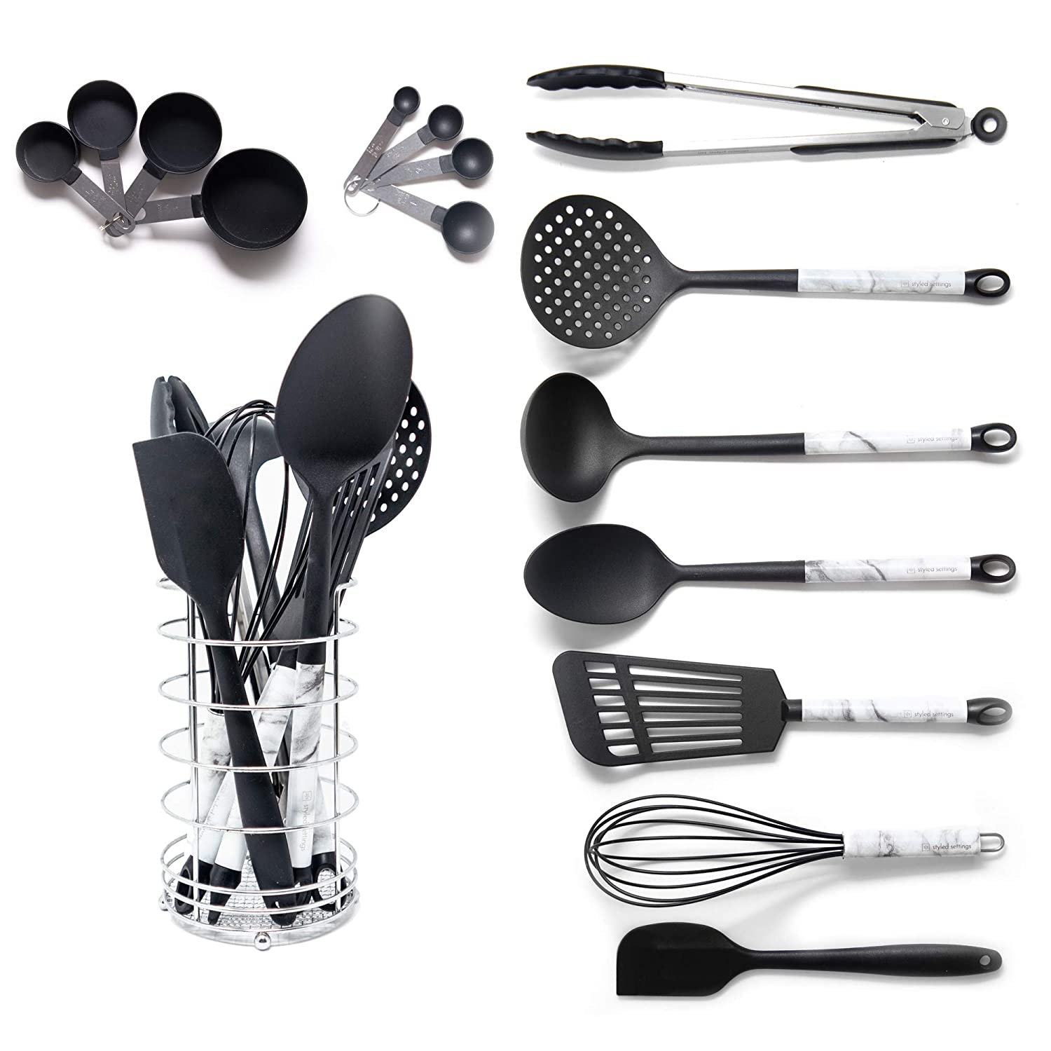 Black and Gold Measuring Cups Black and Gold Cooking Utensils with Stainless Steel Gold Utensil Holder 16-Piece Set Includes Black and Gold Measuring Spoons