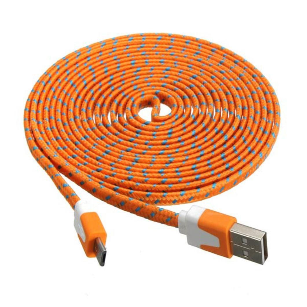 Tefamore cable de 3M micro USB carga datos tejido trenzado plana sincronizaci/ón para tableta m/óvil