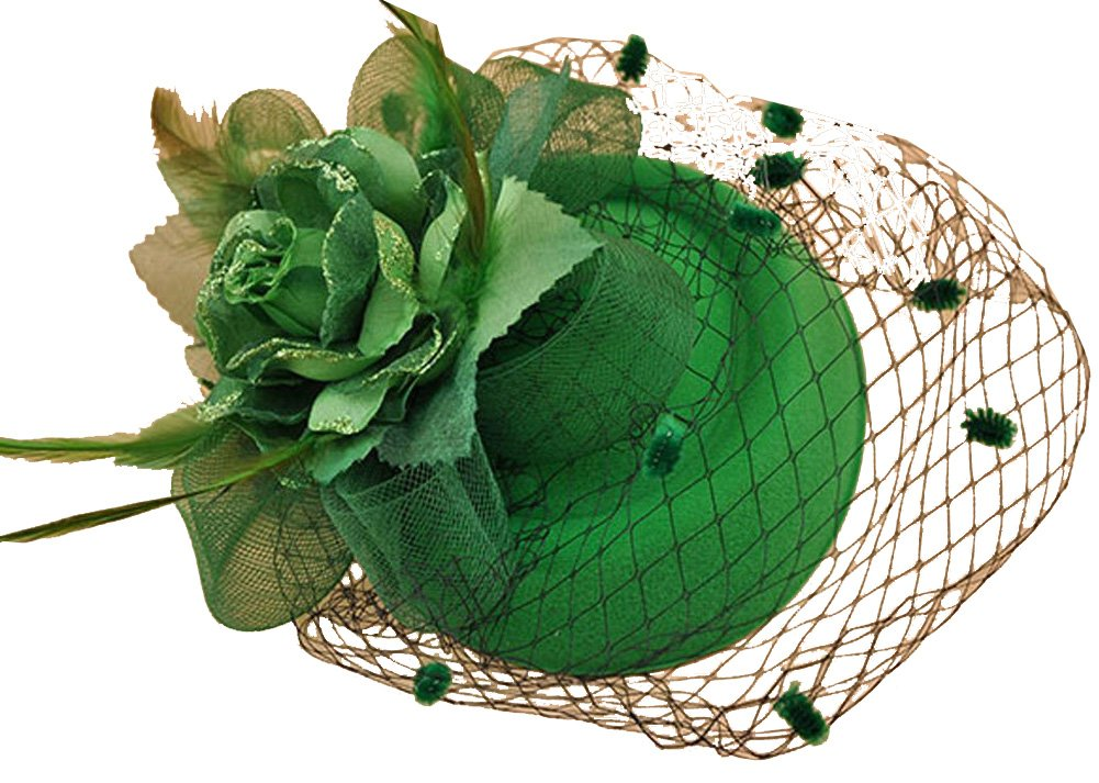 Veil Pillbox Hat Fascinator Hair Clip Wedding Party Headwear Bridal Top Hat (Green)