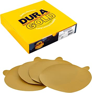Premium 400 Grit 6 Gold Hook /& Loop 6-Hole Sanding Discs for DA Sanders Box of 50 Sandpaper Finishing Discs for Automotive and Woodworking Dura-Gold