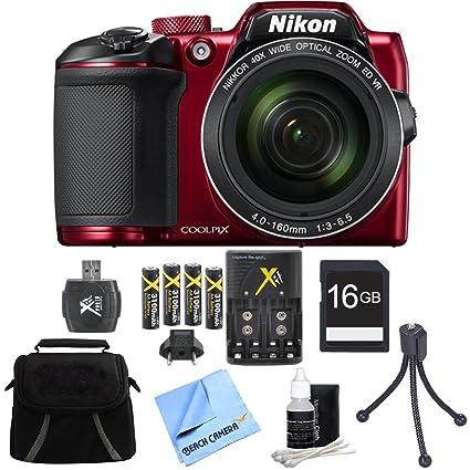 Nikon COOLPIX B500 16MP Digital Camera 16GB Accessory Bundle Red includes Camera, Bag, 16GB