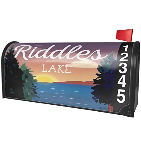 dfabf730bd18 Amazon.com  NEONBLOND Lake Retro Design Riddles Lake Magnetic Mailbox Cover  Custom Numbers  Garden   Outdoor