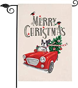 Wellchoy Merry Christmas Garden Flag Red Truck Double Sided Home Christmas Decorative, Winter Rustic House Garden Yard Decorations, New Year Seasonal Outdoor Flag 12.5 x 19