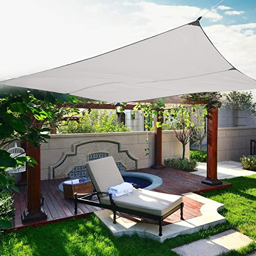 Cortina de la Vela, Toldo de Toldo de Protección Solar de Vela de Sombra Cuadrada con 4 Cuerdas para Fiesta de Patio de Jardín al Aire Libre (4, 5 x 5 m,