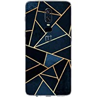 GADGETS WRAP One Plus 6 Vinyl Fibre Only Back Customised Mobile Skin - Blue Triangle Abstract-co-