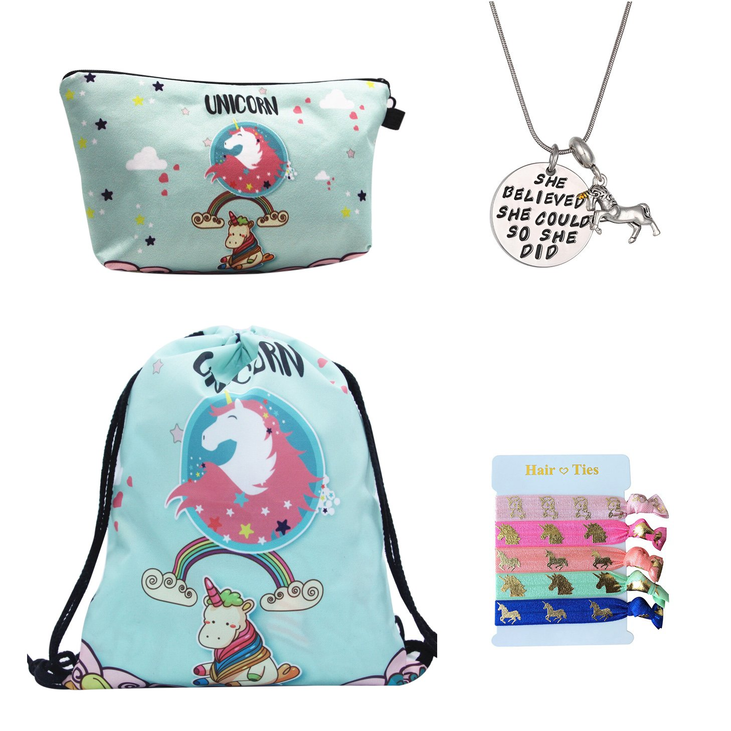 Unicorn Gifts for Girls 4 Pack - Unicorn Drawstring Backpack/Makeup Bag/Inspirational Necklace/Hair Ties (Unicorn with Rainbow)