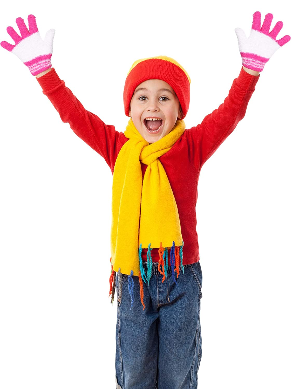 Kids Gloves Full Fingers Knitted Gloves Warm Mitten Winter Favor for Little Boys and Girls