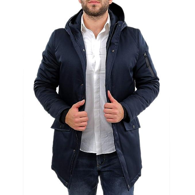 Ciabalù Parka Uomo Invernale Lungo Nero Blu Cappotto Impermeabile con Cappuccio Slim Fit Sartoriale Imbottito Elegante Sportivo