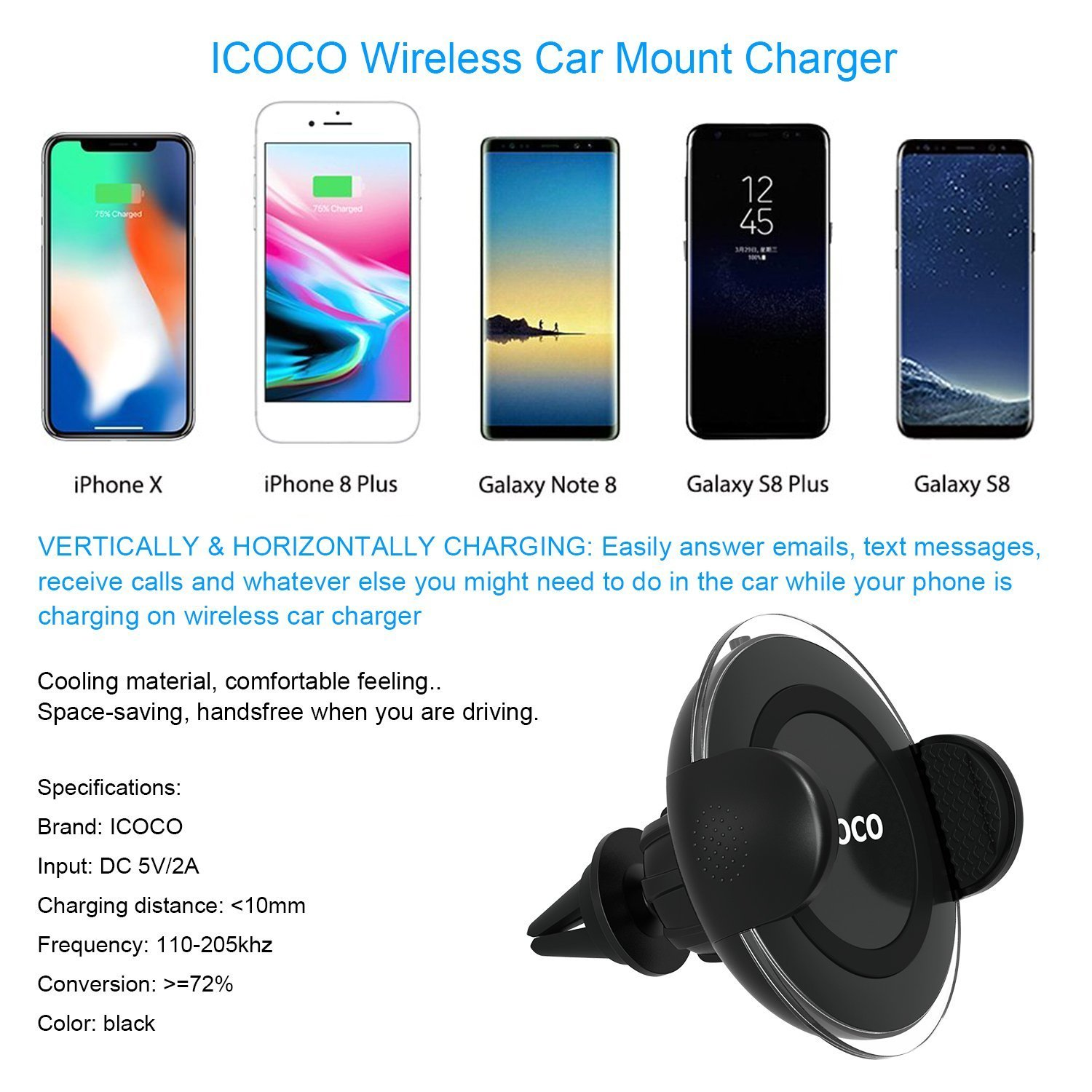 Caricatore Wireless Auto rapido, Caricabatteria Wireless Auto, Universale Supporto Griglia di Ventilazione per Galaxy Note 8/5 S8/S8 Plus S7/S7 Edge S6 Edge Plus, iPhone X / 8 /8 Plus