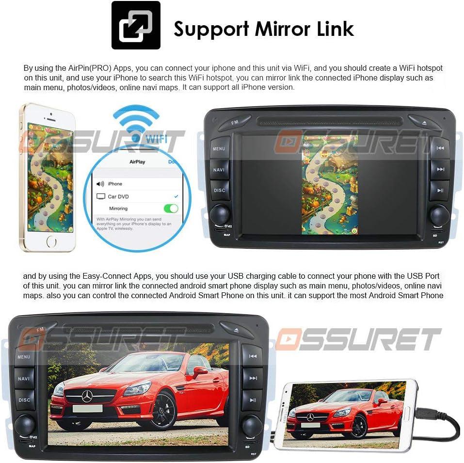 BOOYES pour Mercedes Benz A-W168 C-W203 Android 10.0 Autoradio St/ér/éo GPS Syst/ème 8 Lecteur multim/édia de Voiture Prise en Charge de la Lecture Automatique de Voiture TPMS OBD WiFi Dab Lien Miroir