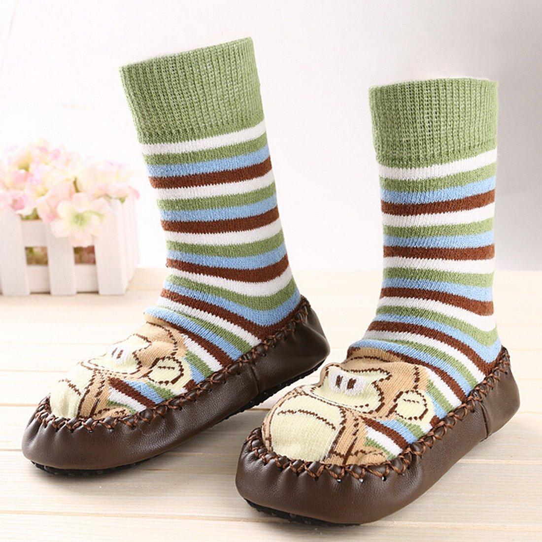 KF Baby Toddlers Boys Girls Non-Skid Slipper Socks Value Pack 3 Pairs