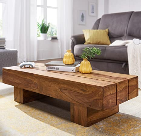 FineBuy tavolino in legno massello Sheesham 120 cm di larghezza sala ...