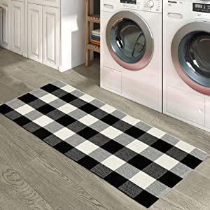 Wolala Home Bohemian Buffalo Plaid Check Cotton Washable Rug Durable Livingroom Solid Floor Rug Simple Fashion Doormat Floor Mat Kitchen Area Rug (2'0x4'3,)