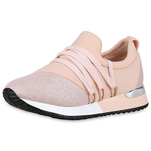 new products 3de1c 6cc09 SCARPE VITA Damen Plateau Sneaker Schnürer mit Keilabsatz Glitzer