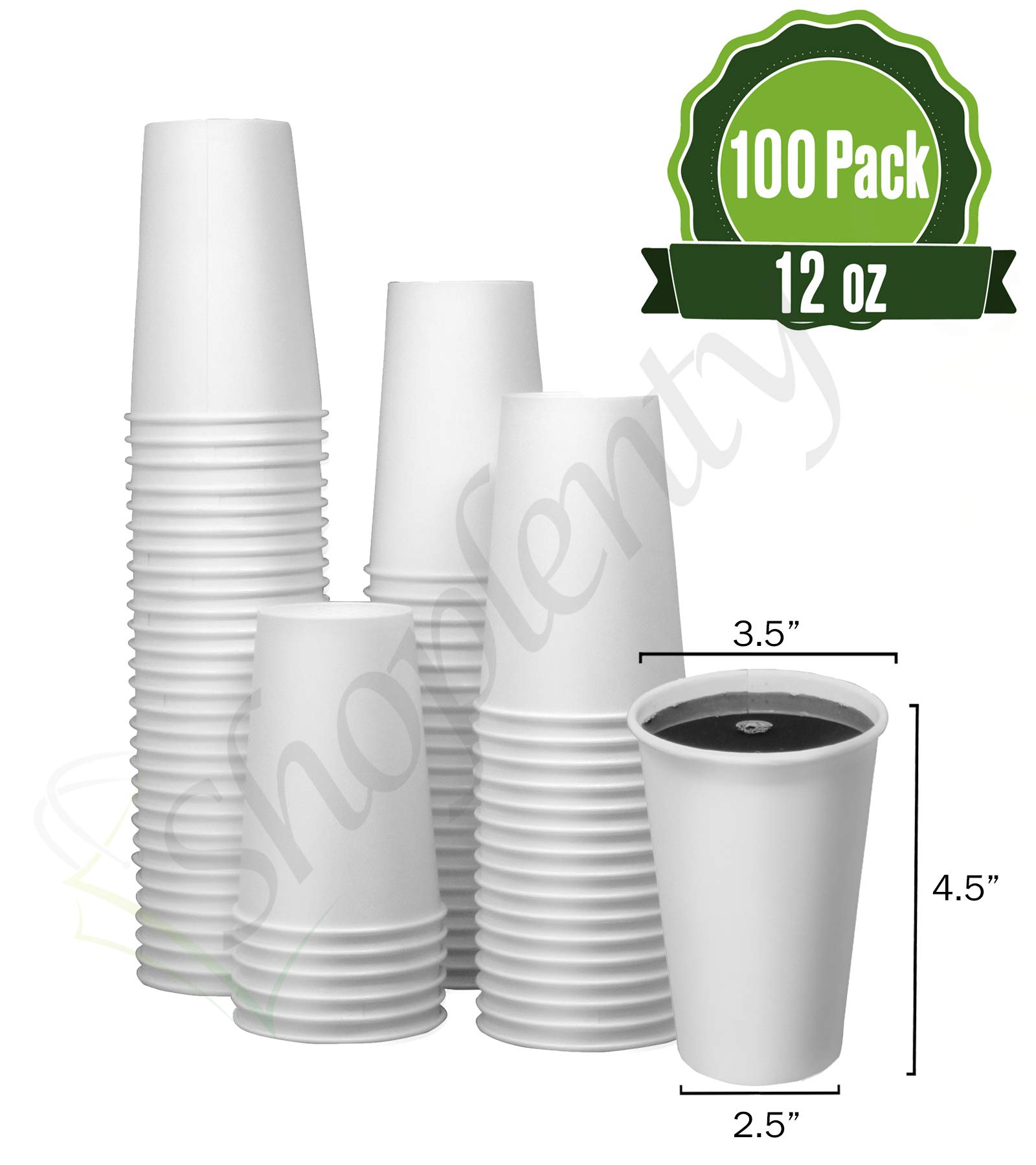 Hot White Paper Coffee Cups [ 12oz 100 Pack ] - Disposable Coffee Cups Ideal for Home, Office, Restaurant, and Togo