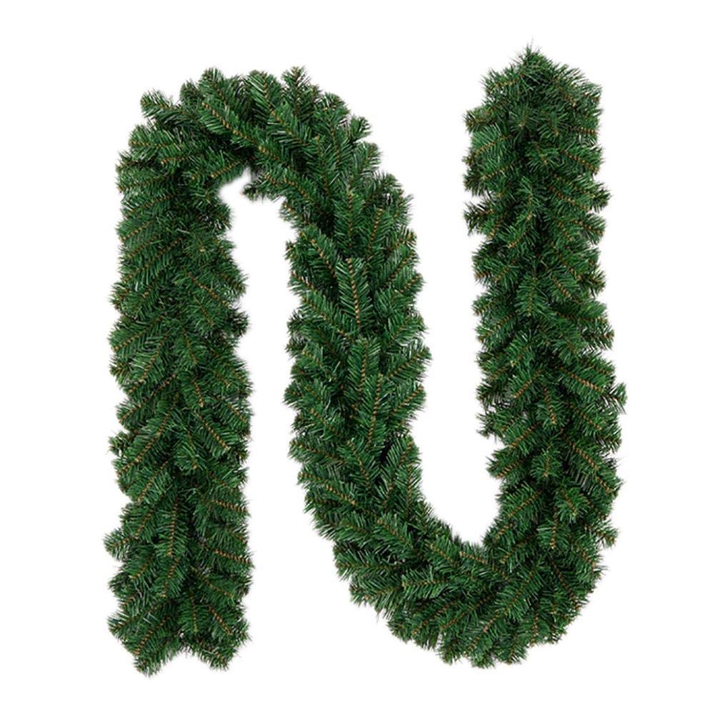Shine-U Christmas Green Garland Decorations Artificial for Mantle Fireplace Stairs Wall Door Indoor Outdoor, 9 Feet by 10 Inch