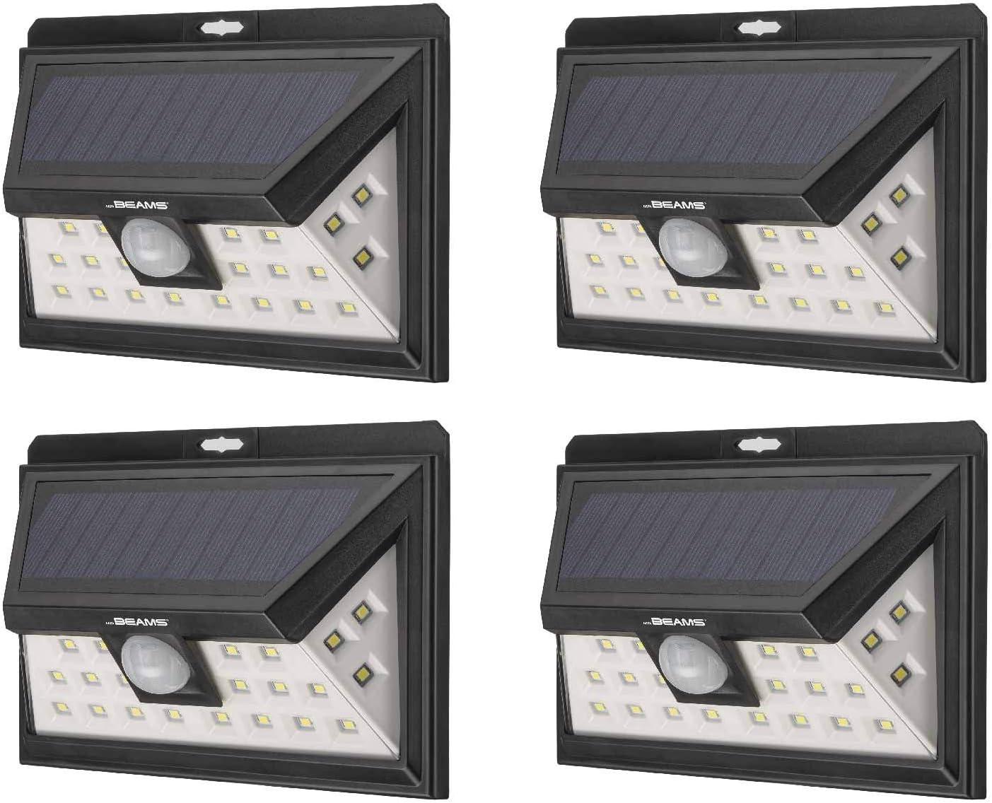 Mr Beams Solar Wedge Plus 24 LED Security Outdoor Motion Sensor Wall Light, 4 pack, Black