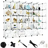 Greenstell 30 Cubes Storage Organizer with Doors,DIY Plastic Stackable Shelves Multifunctional Modular Bookcase Closet…