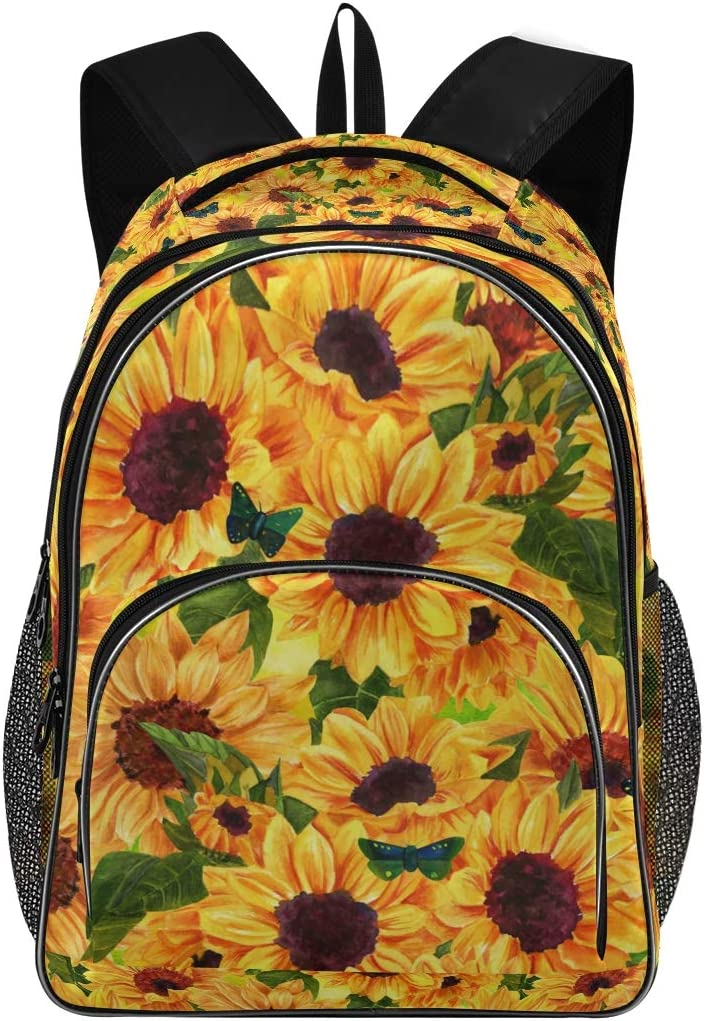 Laptop Backpack Rucksack with USB Charging Port Unsex Big Business Backpack Sunflower Pattern Suitable for School Bags Under 15.6 Inch